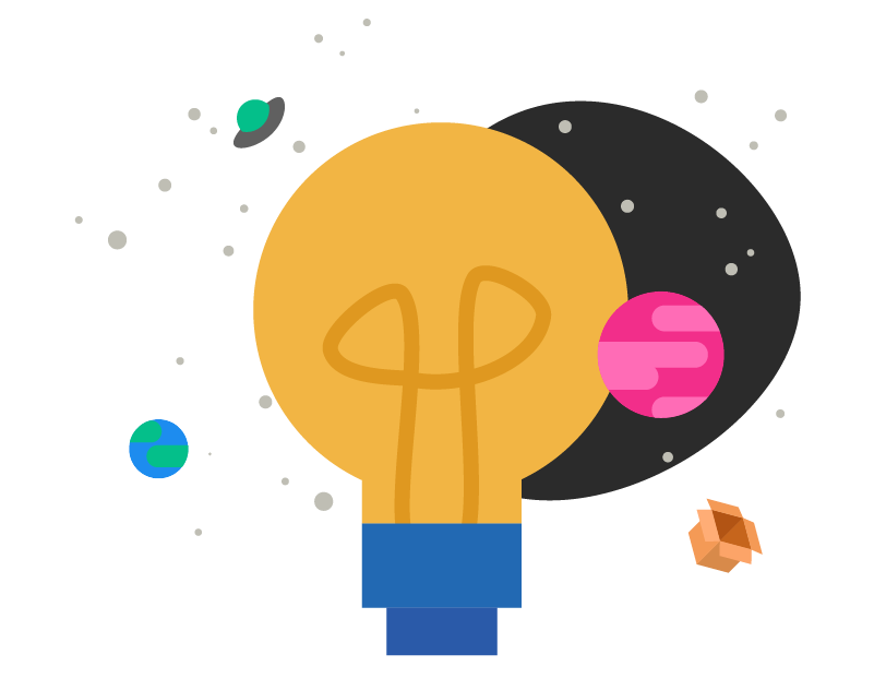 A solar system with a lightbulb in the middle, two planets, a flying saucer, and a box floating around space