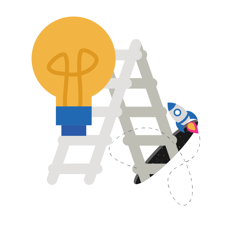 Lightbulb climbing a ladder falling into an inter-dimensional space portal with a rocket zooming out