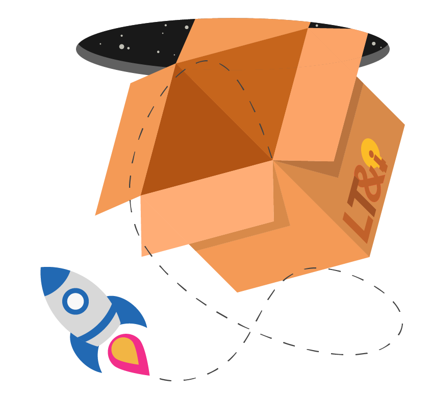 A box falling through an inter-dimensional portal from space with a rocket ship escaping from it